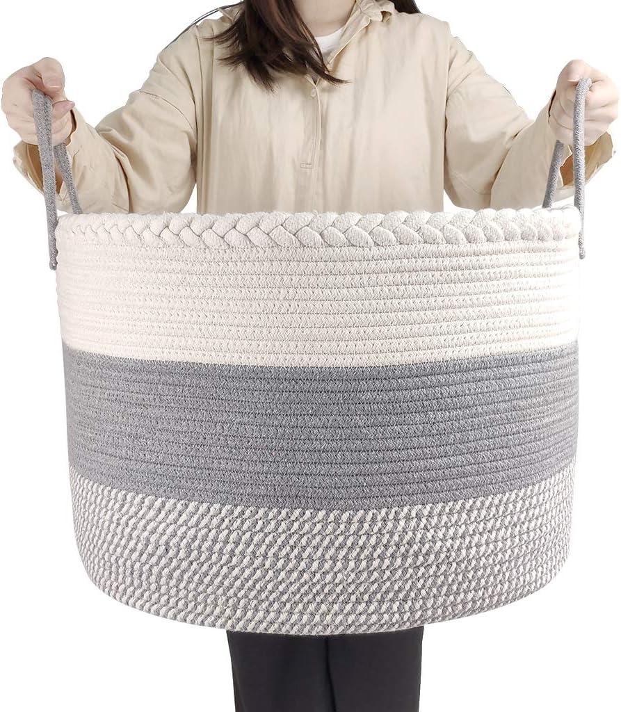 IvyH Canasta de Cuerda de algodón Extra Grande,Canasta de lavandería Plegable Caja de Almacenamiento de Juguetes para bebés Trenzados Canasta de lavandería para Mantas Ropa con asa 50 x 50 x 35 cm