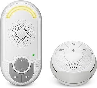 Motorola MBP 140 - Vigilabebés audio con unidad para bebés plug-n-go y pequeña unidad para papás portátil modo eco y luz nocturna color blanco