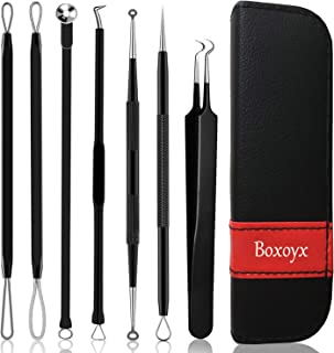 Pimple Popper Tool Kit (7 Pcs) - Boxoyx Blackhead Remover Comedone Extractor Kit with Leather Bag for Quick and Easy Removal of Blackheads, Whiteheads, and Acne Spot Treatment(Black)