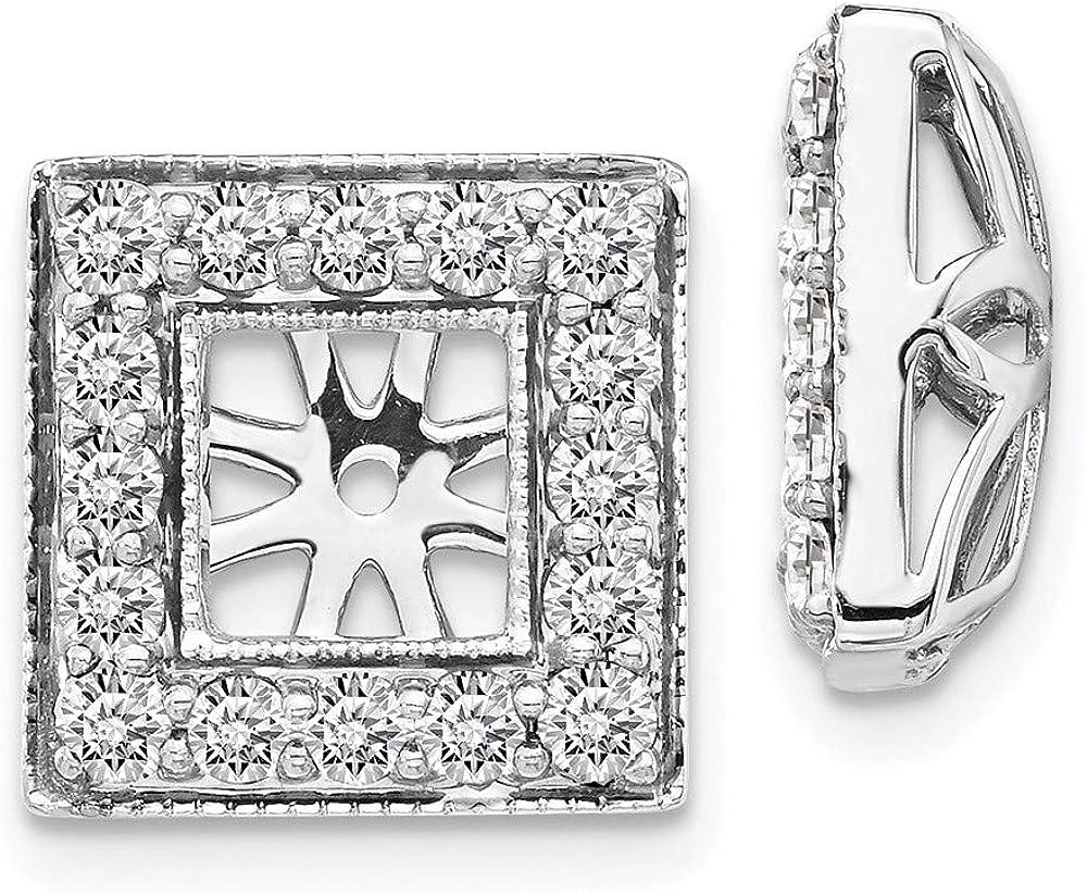 14K White Gold Diamond Square Jacket Earrings