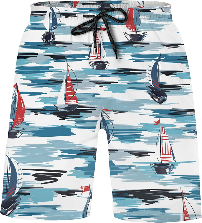 Beautiful Summer Boat Ship in Ocean Boys Swim Trunks, UPF 50+ Quick Dry Swimming Boa