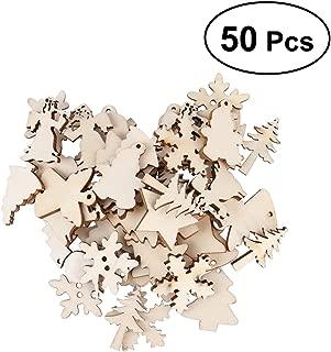 Tinksky 50 UNIDS Árbol de Navidad de Madera Muñeco de Nieve Copo de Nieve Rebanadas Inacabadas 12 Patrones Surtidos Ornamento Colgante Artesanía de BRICOLAJE Artesanía Para la Decoración de Navidad