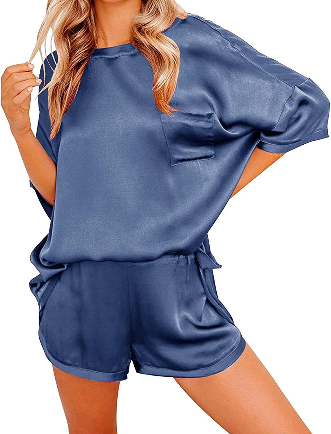 Women's Two Piece Silk Satin Pajamas Set Lowest price challenge Comf High material Short Sleeve Loose