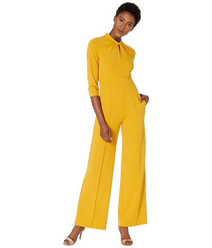 Donna Morgan  3/4 Sleeve Twisted Neckline Crepe Jumpsuit (Marigold) Womens Jumpsuit and Rompers One Piece
