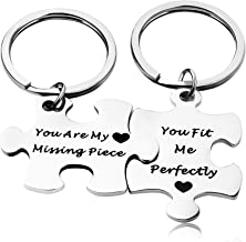 AZFEIYA Puzzle Piece Keychains Personalized His and Hers Set Couples Gift You are My Missing Piece Hand Stamped Jewelry Long Distance Relationship Gift