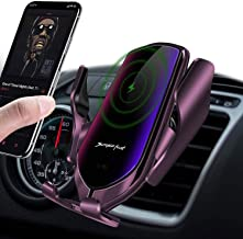 LUKKAHH R2 Wireless Car Charger Mount,Auto-Clamping Air Vent Phone Holder,10W Qi Fast Car Charging,Compatible iPhone 12/12Pro/11/11 Pro/XS Max/X/8/8+, Samsung Note9/Note10/S9+/S10+(Gun-Plated