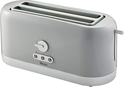 Swan 4 Slice Toaster, Grey, Variable Browning Control and Extra Long Slot: 25mm x 250mm, 1200W-1400W, ST10091GRYN