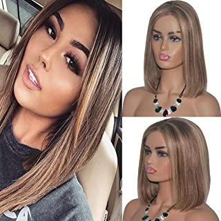 Short Ombre Human Hair Wigs Brazilian Bob Wig for White Women Bleached Knots with Baby Hair Silky Straight Glueless Blond Highlight Bob Wigs 13X4 Chestnut Brown to Beige Blonde Full End