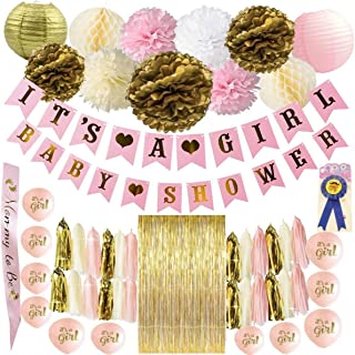Luxury Ace Products Baby Shower Decorations for Girl, Pink and Rose Gold Party Supplies Its a Girl Banner, Floral Pom Poms, Tissue Paper Lanterns, Balloons, Tassels, Sash, Table, Centerpiece, Set