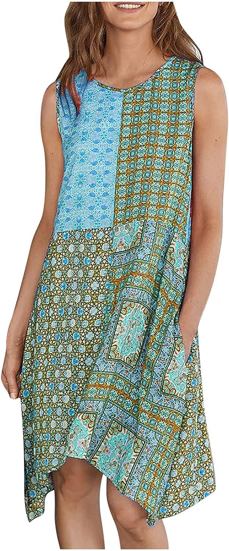 Kidyawn Womens Dresses Casual Loose O-Neck Bohemian Splicing Floral Printed Summer Sleeveless Tank Swing Midi Dress