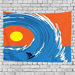ZZ1QIU Art Nature Wall Hanging Bedding Tapestry, Man Surfing in Giant Ocean Waves Retro Artistic Sports Poster Print,for Living Room Bedroom Dorm Decor(90x60 Inches)