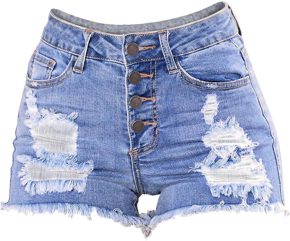SHOBBW Denim Hot Shorts for Women Casual Summer Mid Waisted Short Pants with Pockets