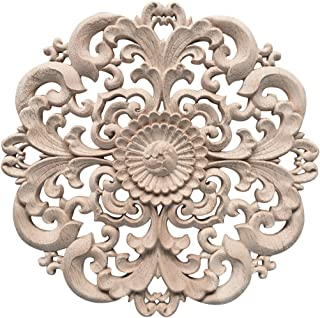 Enerhu Wood Carved Applique Round Furniture Corner Onlay Wall Unpainted for Home Decor #2 Diameter 5.9 Inch