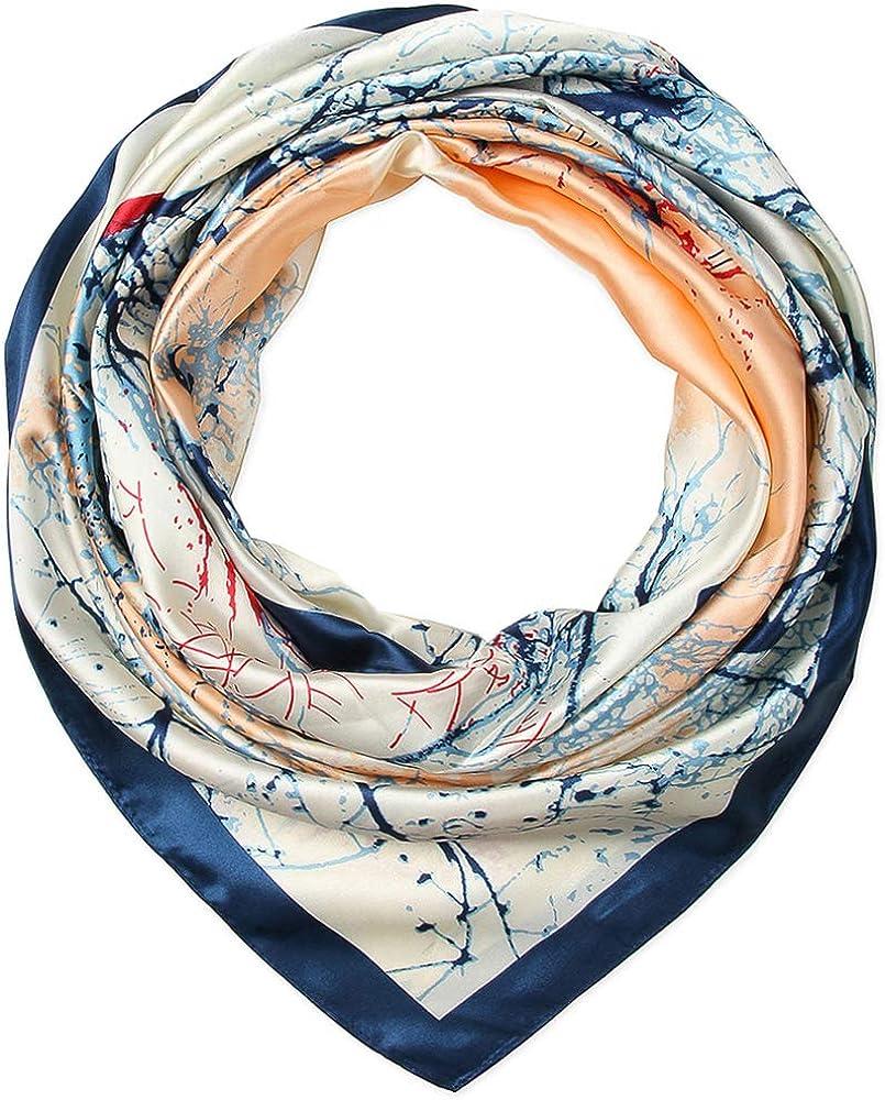 35 x 35 Corciova Blue Silk Like Hair Scarf Head Sleeping Wrap Satin Neck Bandana