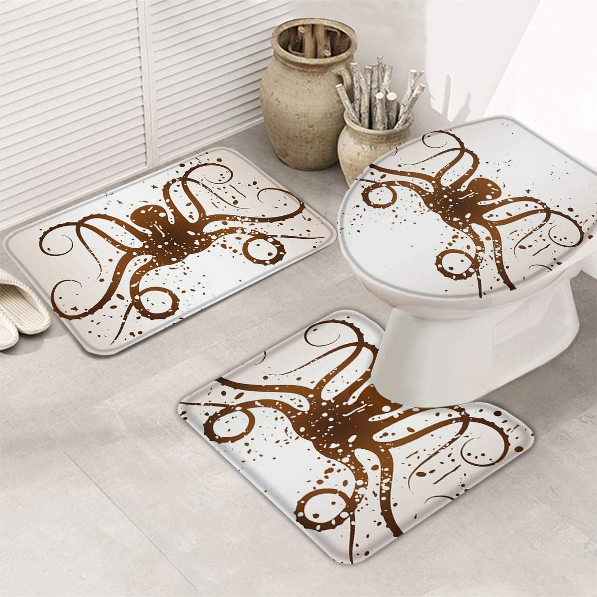 IDOWMAT Spasm price 3 Piece Bath Rug Abstract Ma Octopus Bathroom Ink Splash Popular standard