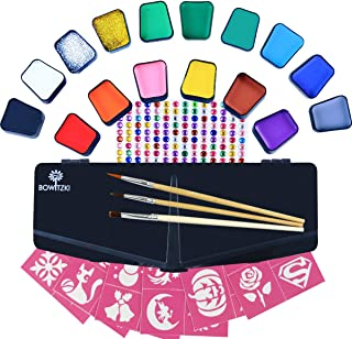 Bowitzki Face Paint Kit for Kids 14 Color Face Painting Set 168 Rhinestones 40 Stencils 2 Glitter 3 Brushes Non Toxic Wate...