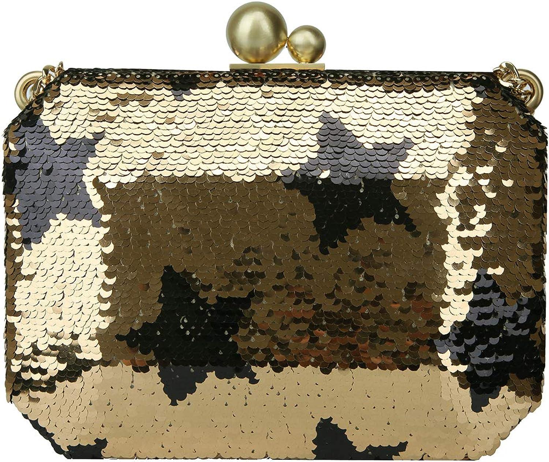 Bonjanvye Star Sequin Evening Clutch Handbags for Women