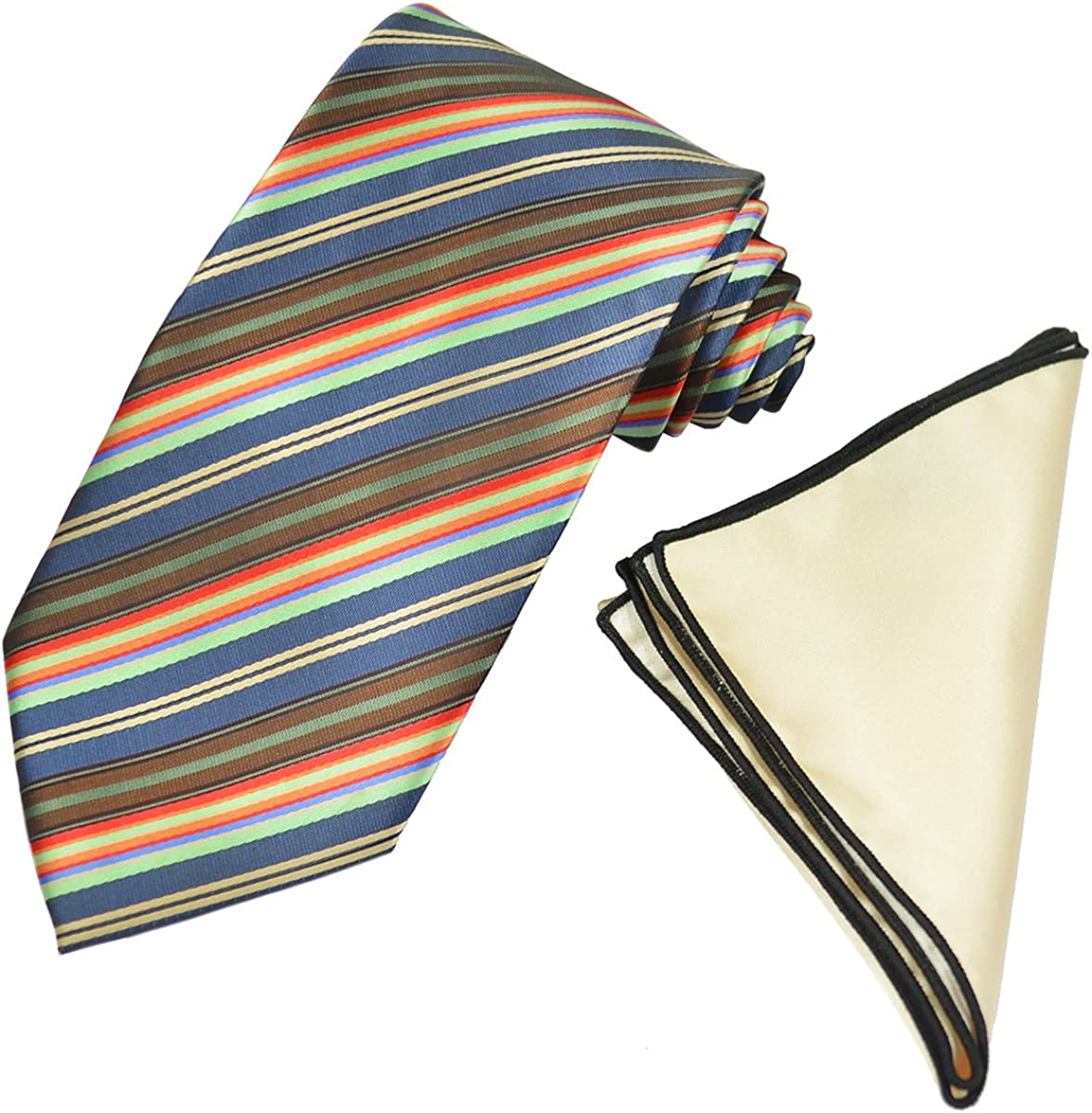 Navy Striped Men's Tie with Contrast Pocket Square Set