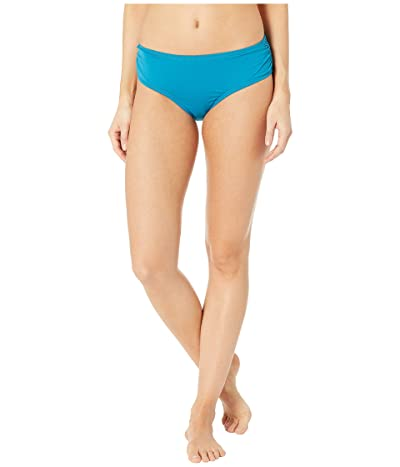 MICHAEL Michael Kors Iconic Solids Shirred Bikini Bottoms (Lux Teal) Women