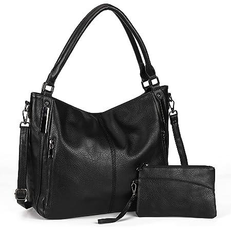 Damen Handtaschen Groß Shopper Lederhandtasche Schultertasche Umhängetasche Geldbörse Hobo Damen Taschen Set 2pcs(Schwarz)
