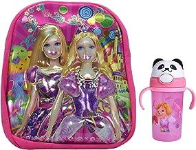 Tinytot Barbie Fabric Pink School Bag with Water Bottle