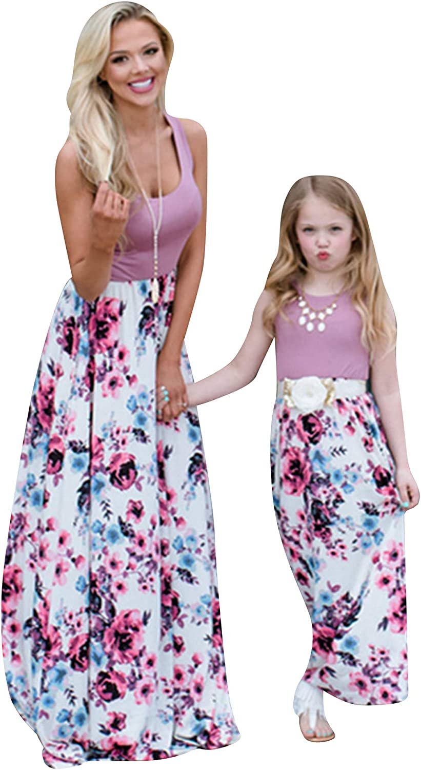 OMZIN Tank Maxi Dress for Mother and Daughter Sleeveless Floral Printed Dress Purple Flower S