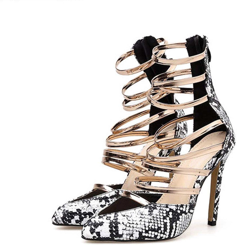 Shine-shine High Heels Gladiator Sandals Zipper Sandals Dress Pumps Snakeskin Print