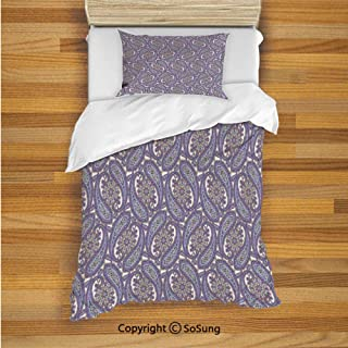 Paisley Kids Duvet Cover Set Twin Size, Tribal Floral Ornamental Patterned Design with Raindrop Like Shapes Artwork Decorative 2 Piece Bedding Set with 1 Pillow Sham,Blue and Purple