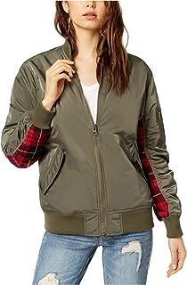 Kendall + Kylie $128 Womens New 1085 Green Plaid Trimmed Bomber Jacket XS B+B