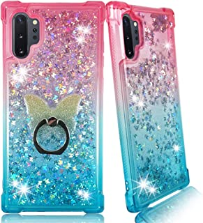 Samsung Note 10 Plus Clear Case, ZASE Liquid Glitter Sparkle Bling Designed for Galaxy Note 10 Plus 5G Cute Women Girls Floating 3D Butterflies Quicksand w/Phone Ring Holder (Gradient Pink Aqua)
