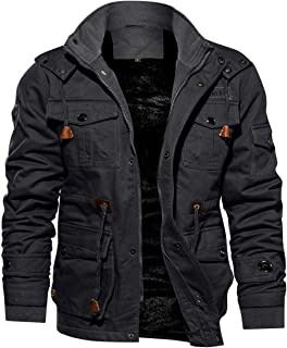 TACVASEN Men's Casual Winter Cotton Military Jacket Thicken Hooded Cargo Coat