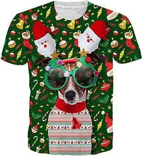 Uideazone Unisex 3D Ugly Christmas T-Shirts Novelty Short Sleeve Tee Shirt Xmas Gift Shirts
