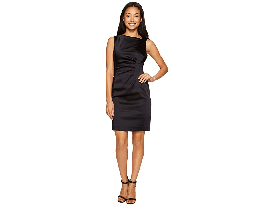 Tahari by ASL Petite Satin Sheath Dress (Navy) Women