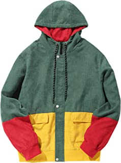 ZAFUL Men Color Block Patchwork Corduroy Hooded Jacket Long Sleeve Oversized Coat