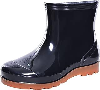 JACKY LUYI Men Rain Boots Waterproof Rubber Washing Work Boots Black Size: 8.5