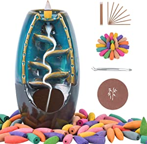 SOYO Backflow Incense Burner Waterfall Incense Holder with 120 Backflow Incense Cones + 30 Incense Sticks + 1 Tweezer, Aromatherapy Ornamental for Home Office Yoga, Blue