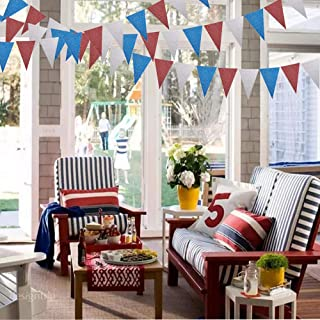 Party Decoration 4 Pack Red Blue Silver Triangle Pennant Banner Celebration Party Flag Garland Hanging Bunting Decoration for Birthday/Baby Shower/Wedding/Graduation Party