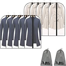 BeyJoy MandWot 10//8 Pack+2 Garment Bags Dust Cover for Closet Clothes Storage Black Edge Zipper Hanging Lightweight Clear Full Garment Bag Suit Bags PEVA Moth-Proof Breathable 24 x 40 10 Pack