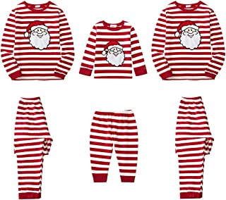 Family Christmas Pajamas Sets Adorable Santa Patch Red Striped Matching Holiday Sleepwear