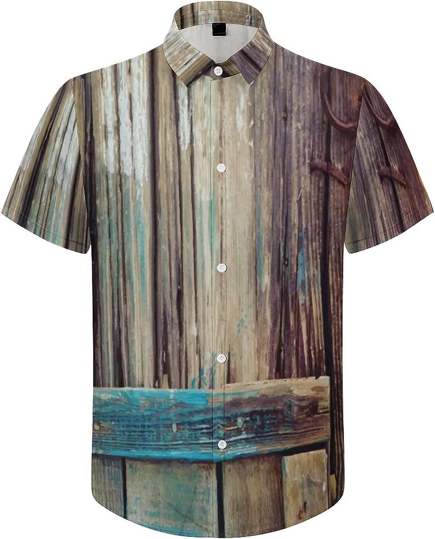 Men's Regular-Fit Short-Sleeve Printed Party Holiday Shirt Old Wooden Door