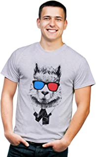 Retreez Funny Hipster Lama in Suit with 3D Glasses Graphic Printed T-Shirt Tee