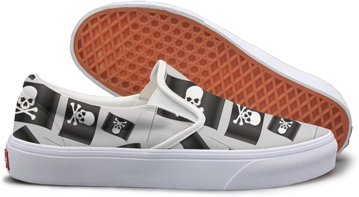 SEERTED Black Small Pirate Flag with Skull and Bones Comfortable Sneakers for Women Walking