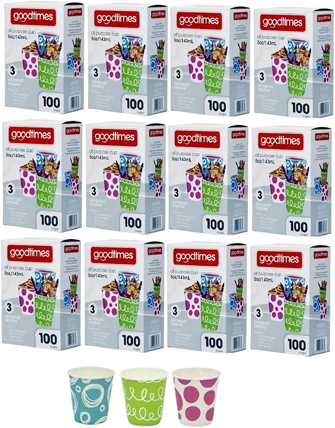 Goodtimes 5oz. All-Purpose Bathroom Kitchen Paper Cold Cups,100ct-Assorted Designs (12)