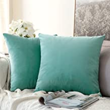 MIULEE Pack of 2, Velvet Soft Soild Decorative Square Throw Pillow Covers Set Cushion Case for Sofa Bedroom Car 18 x 18 Inch 45 x 45 cm Aqua Green
