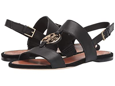 Tory Burch Metal Miller Two Band Sandal (Perfect Black/Gold) Women