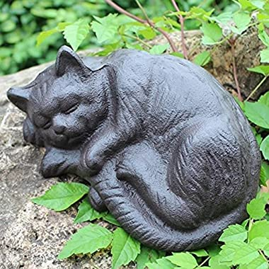 Desktop Sculpture Garden Sculpture Cat Statue Crafts Ornaments Home Outdoor Decoration Sleeping Cat Statuette Cast Iron Art G