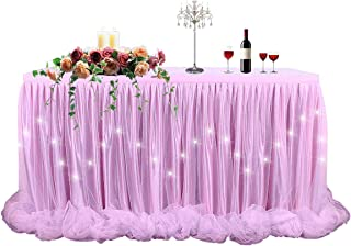 Pink Tulle Tutu Table Skirt Table Cloth LED table skirt for Rectangle or Round Table for Baby Shower Wedding and Birthday Winter Party Decoration(9 ft table skirt)