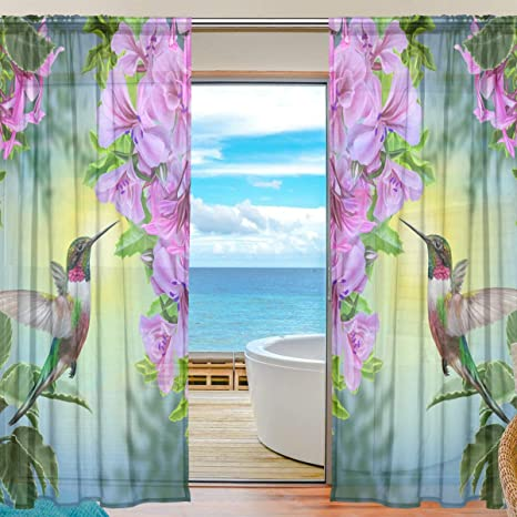 Amazon Com Alaza Voile Window Curtain Small Bird Hummingbird Door Way Tulle Curtain Drapes Sheer Panels For Living Room Bedroom Kitchen 55x78 Inch 2 Pcs Kitchen Dining