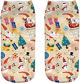 Low Cut Ankle Socks, Toamen Men Women Unisex Christmas 3D Printed Funny Anklet Socks, Anti-slip Floor Socks Novelty Gift