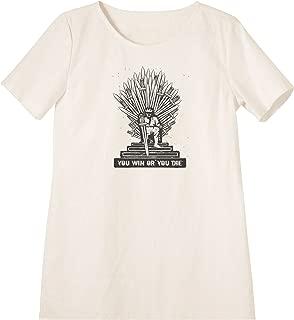 Iron Throne Printed Linen Short Sleeves Vintage Mini Shift Dress WDS_06